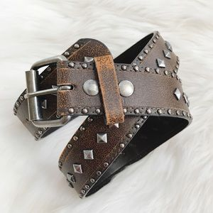Accessories - Studded Brown Leather Belt-Size 32
